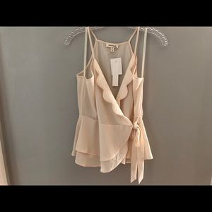 NWT Monteau Scalloped Tie Front Top